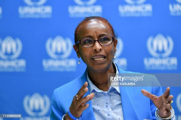 High Commissioner for Refugees Representative in Kenya Fathiaa Abdalla gives a press conference on May 15, 2019 in Nairobi following the arrest, by...