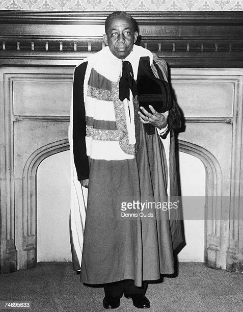 High Commissioner for Trinidad and Tobago and Former West-Indian test cricketer, Sir Learie Constantine on the day he was introduced in the Lords to...