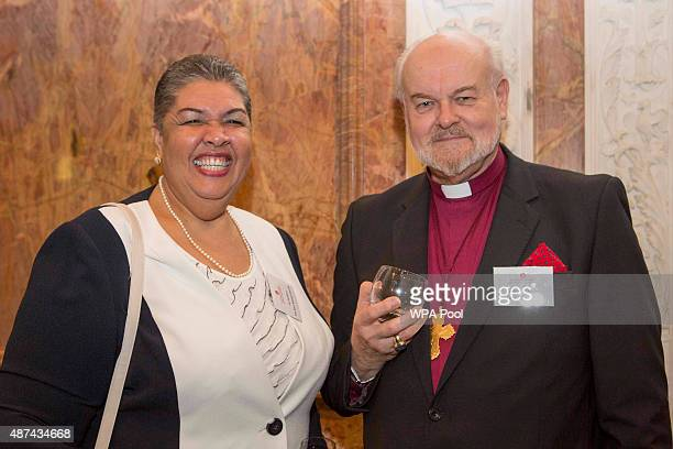 High Commissioner of Jamaica Her Excellency Mrs Aloun NdombetAssamba and Dr Richard Chartres the Bishop of London at The Royal Society in central...