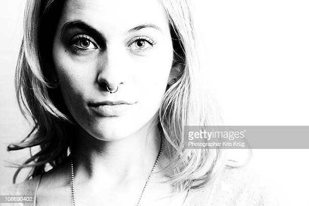 high contrast b/w female portrait - high contrast stock pictures, royalty-free photos & images