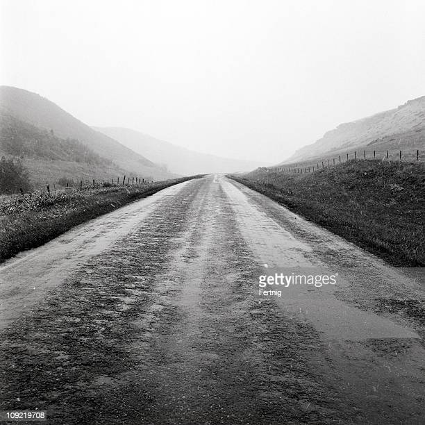 high country road in a sleet storm - sleet stock photos and pictures