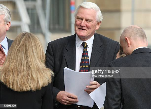 High Court judge Scott Baker on the last steps of Lady Diana and Dodi al Fayed for the investigation on their death In Paris France On October 08...