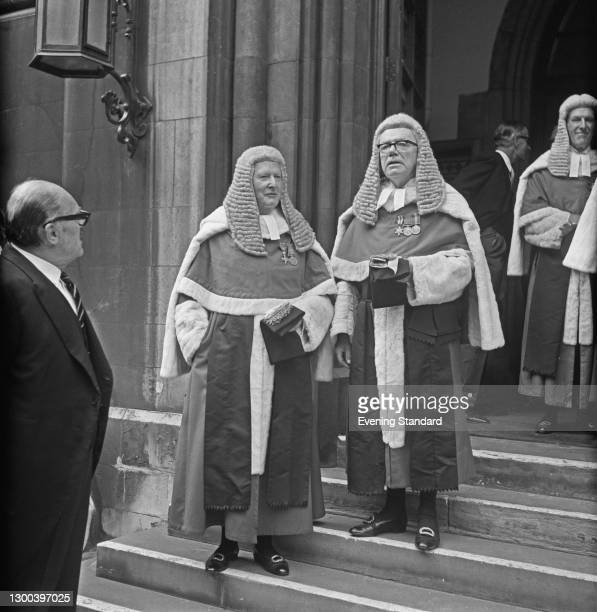 High Court judges Justice Gerald Thesiger and Justice Melford Stevenson , London, UK, 19th October 1972.