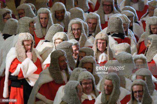 High Court Judges wait in Westminster Abbey, ahead of the annual service to mark the start of the legal year, on October 2, 2017 in London, England....