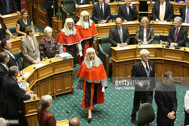 High Court Justice Dame Sian Elias enters the chamber during the swearing in of MPs and the Commissioning of Parliament during the first meeting of...
