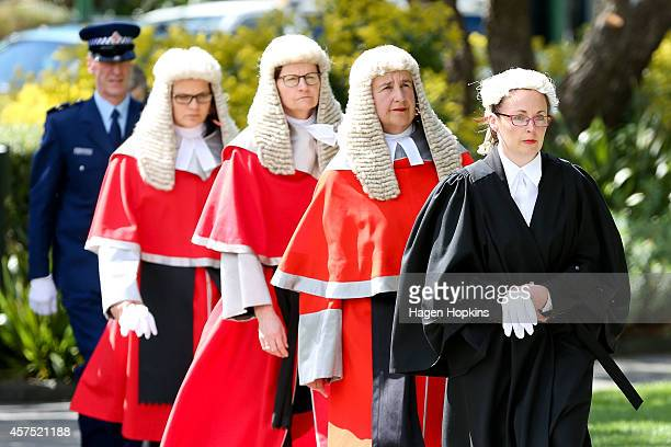 High Court manager Jane Penney leads Royal Commissioners, Chief Justice Dame Sian Elias, Court of Appeal President Justice Ellen France and Chief...
