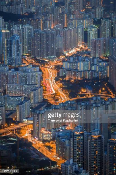 High density of Hong Kong island at night