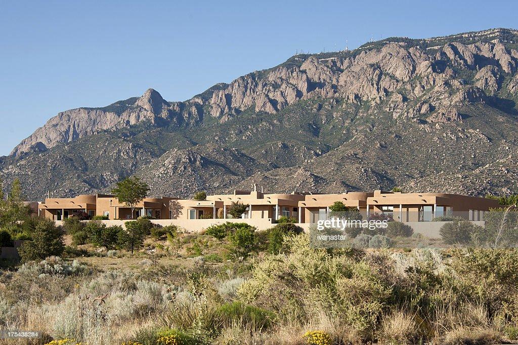 High Desert Community with Modern Southwest Adobe Houses : Stock Photo