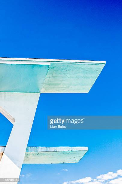 High diving boards against a blue sky