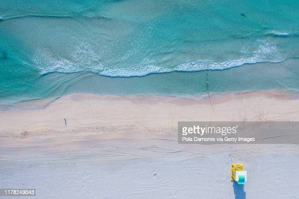high drone view of south beach in miami beach, florida, usa - gulf coast states stock pictures, royalty-free photos & images