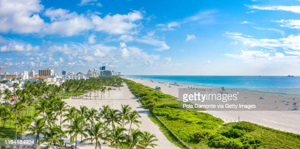 high drone view of south beach in miami beach, florida, usa - south stock pictures, royalty-free photos & images