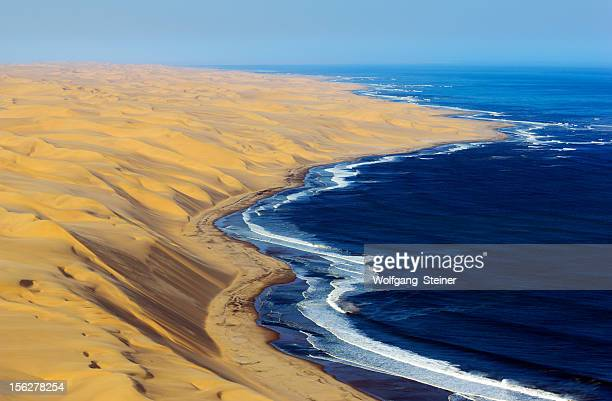 High dunes from Namib Desert and the Atlantic Ocean