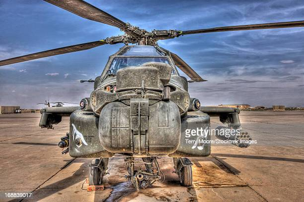 High dynamic range image of an AH-64D Apache Longbow helicopter.