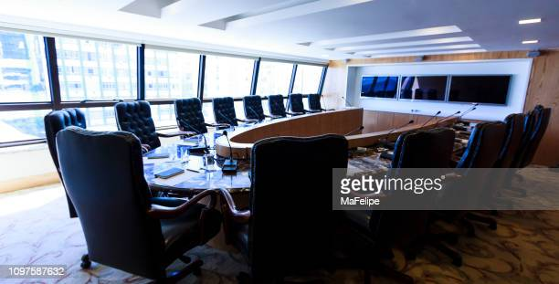high end conference room - summit meeting stock pictures, royalty-free photos & images