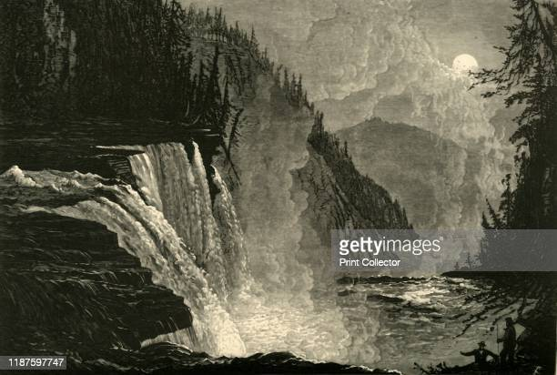 High Falls' 1872 Full moon over a waterfall on the West Canada Creek New York State USA From Picturesque America or The Land We Live In A Delineation...