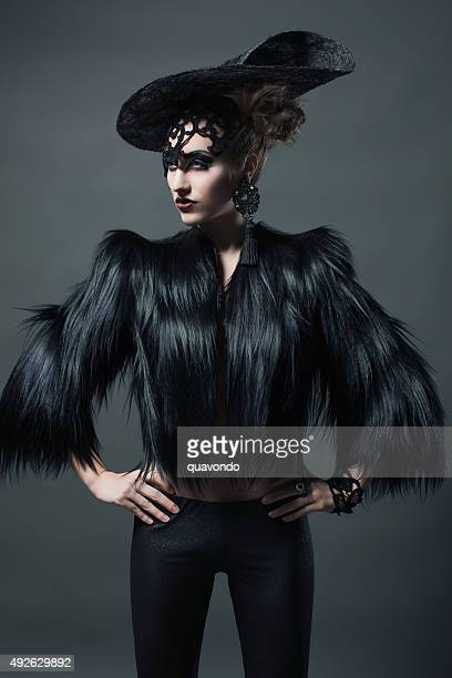 high fashion model with fur - high fashion stock pictures, royalty-free photos & images