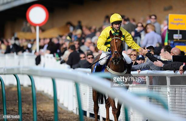 High fives for Andrew Thornton after riding Itoldyou to win The 32Red Casino Handicap Steeple Chase at Fontwell racecourse on March 15 2014 in...