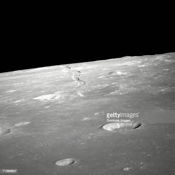 'A high forward oblique view of Rima Ariadaeus on the Moon, as photographed by the Apollo 10 astronauts in May of 1969. '