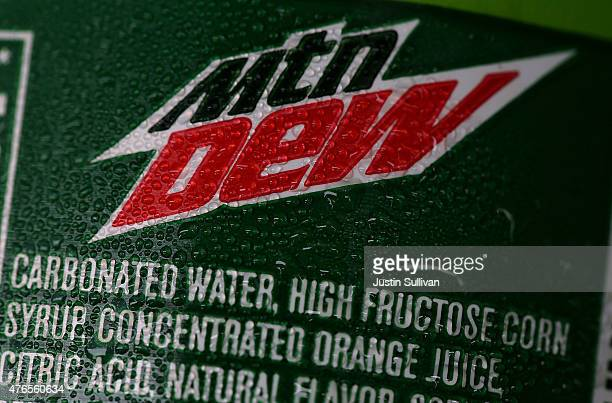 High fructose corn syrup is listed in the ingredients of a bottle of Mountain Dew that is displayed in a cooler of a food truck on June 10 2015 in...