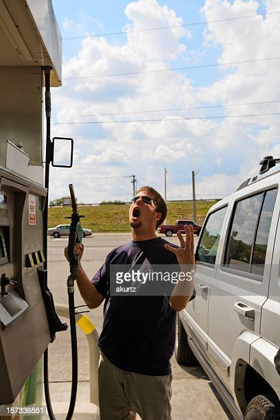 High Gas Price Frustration Man Refueling