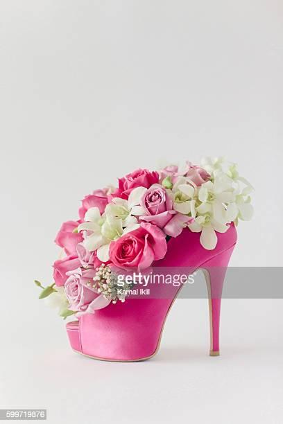 High heel shoe with flowers