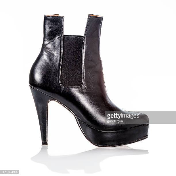 High heels ankle boot in black patent leather