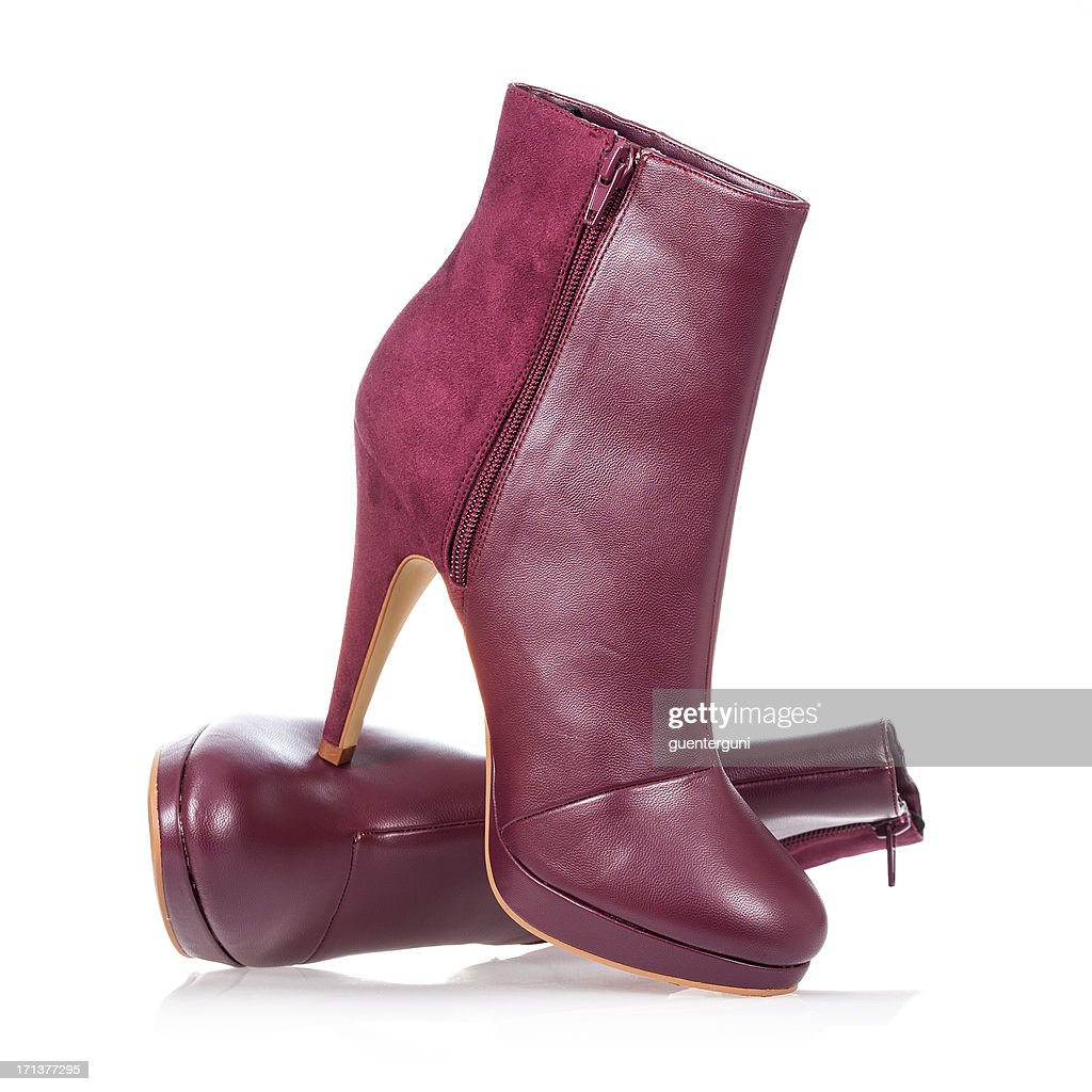 High heels ankle boot in dark red : Stockfoto