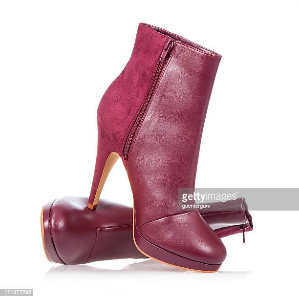 high heels ankle boot in dark red - high heels stock pictures, royalty-free photos & images