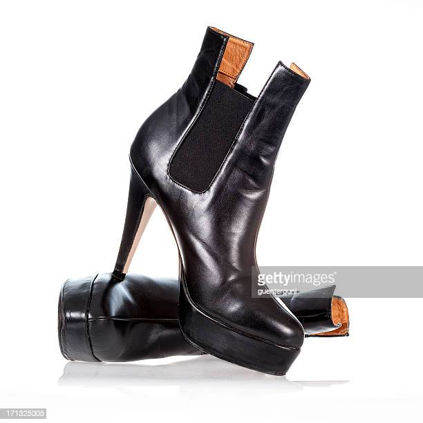 High heels ankle boots in black patent leather