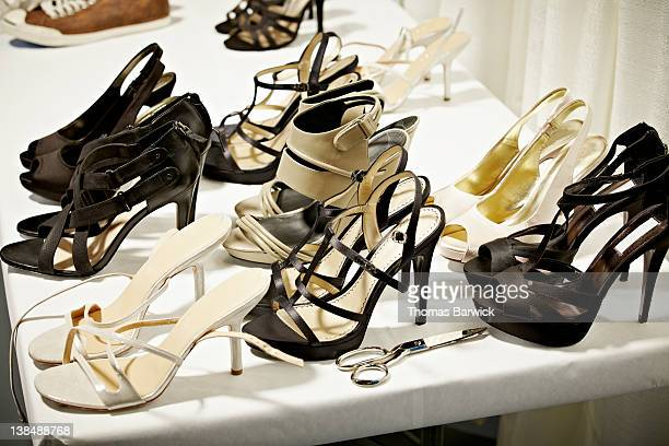 high heels on table backstage at fashion show - fashion week stock pictures, royalty-free photos & images