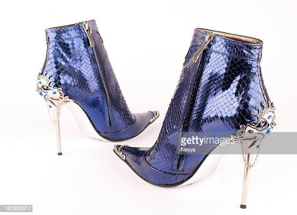 high heels - silver boot stock pictures, royalty-free photos & images