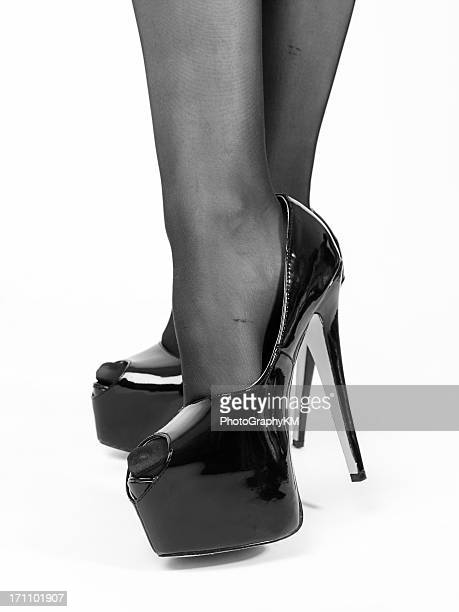 high heels - nylon feet stock photos and pictures