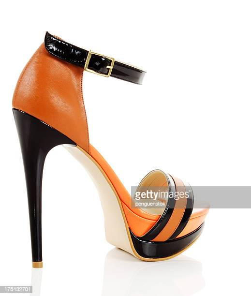 high heels shoe - orange shoe stock photos and pictures