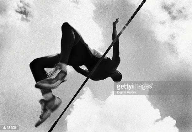 High jumper going over bar