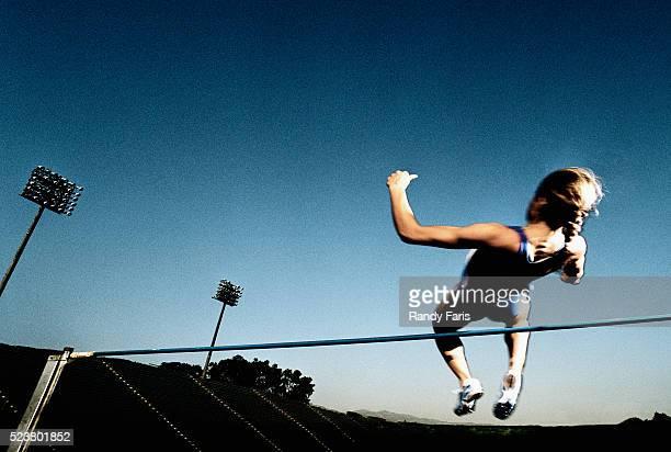 High Jumper in Midair