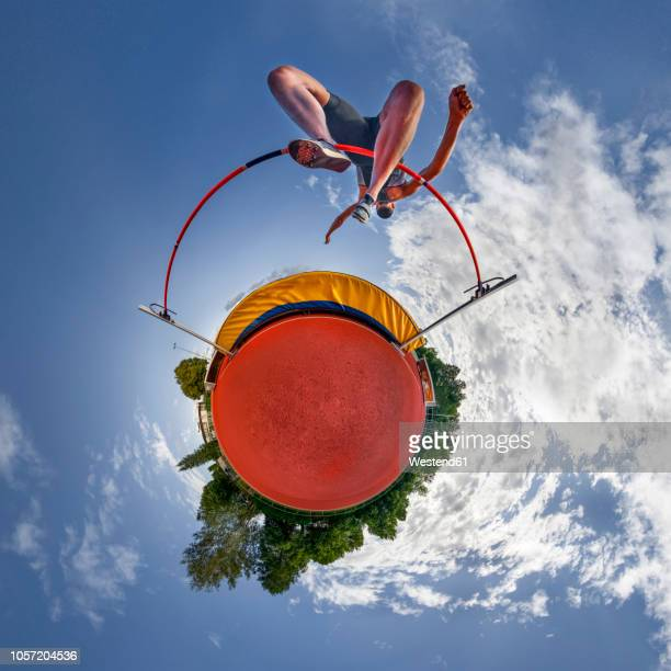 high jumper, little planet view - men's field event stock pictures, royalty-free photos & images