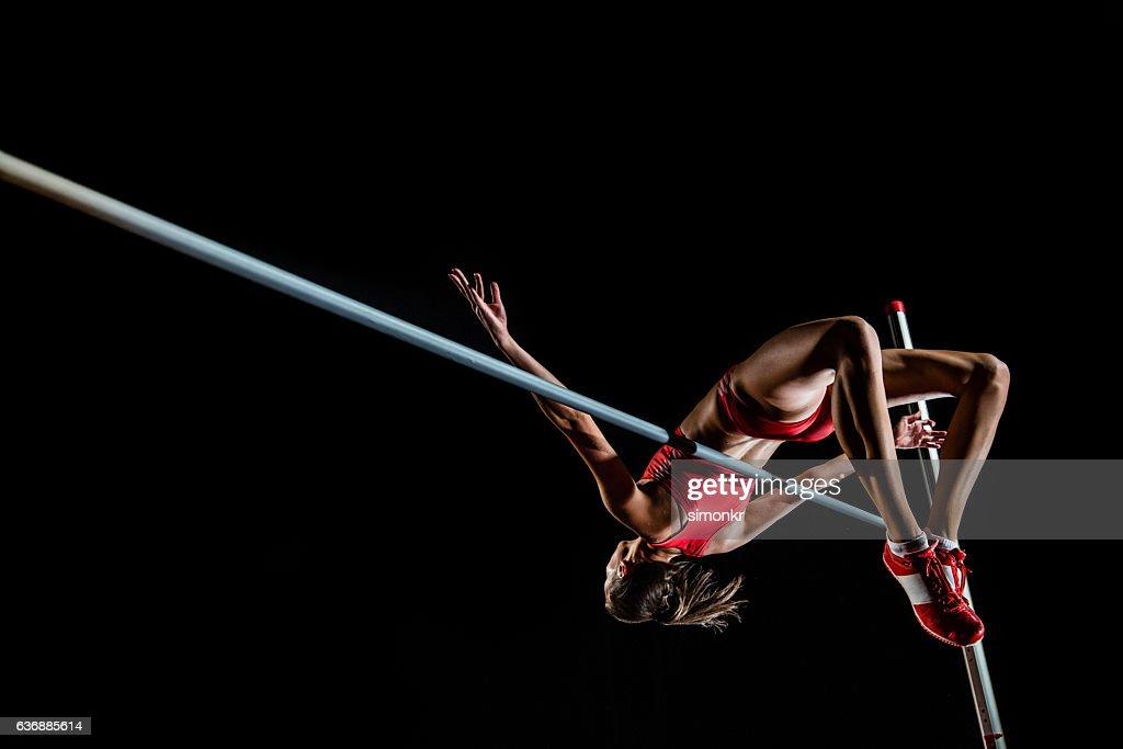 High jumper performing : Foto de stock