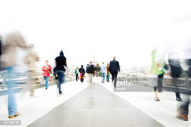 high key, long exposure bleached commuters in an urban setting - incidental people stock pictures, royalty-free photos & images