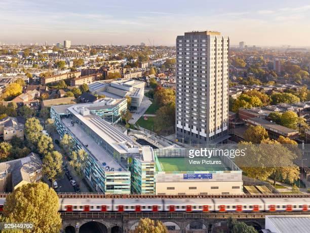 High level context image showing the whole scheme in the context of London Kensington Aldridge Academy London United Kingdom Architect Studio E...
