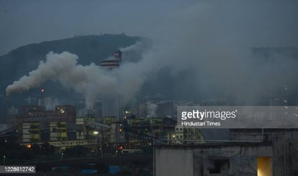 High level of air pollution coming out from industries in Mahul, Chembur, on September 19, 2020 in Mumbai, India.