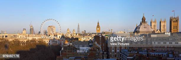 High level Panoramic view over St James' Park with London skyline including the London Eye the Shard and Houses of Parliament Architectural Stock...