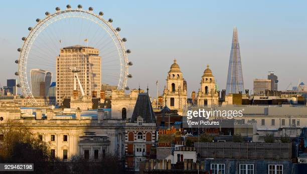 High level Panoramic view over St James' Park with London skyline including the London eye and the Shard Architectural Stock Various United Kingdom...