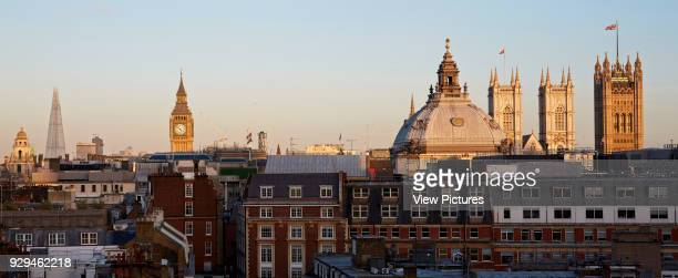 High level Panoramic view over St James' Park with London skyline including the London eye the Shard and houses of Parliment Architectural Stock...