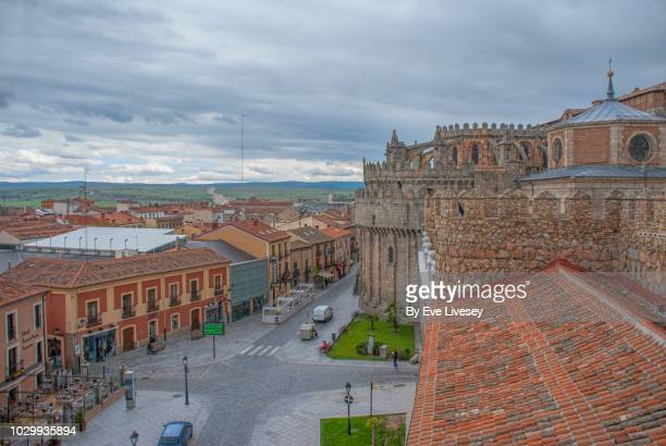 high level view of the cathedral and city - avila stock photos and pictures