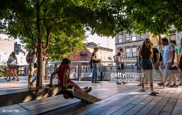 high line park in chelsea - chelsea new york stock photos and pictures