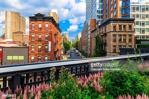 high line park, new york - chelsea new york stock photos and pictures