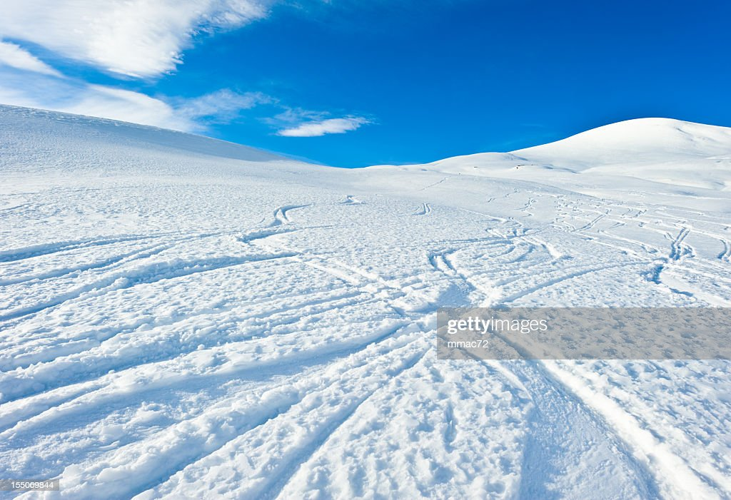 High mountain landscape ski traks : Stock Photo