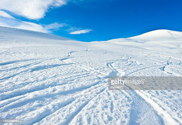 High mountain landscape ski traks