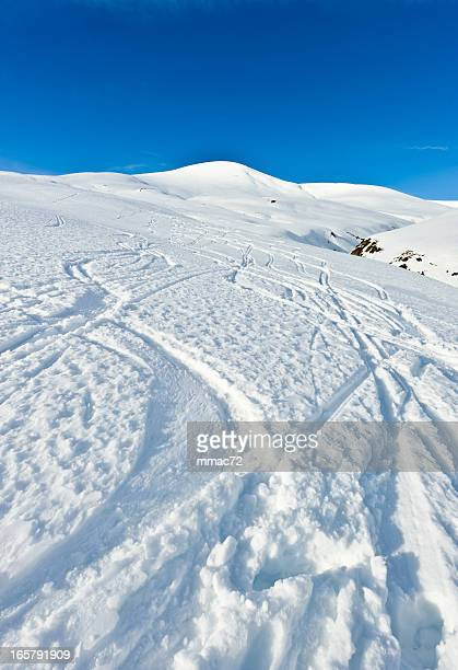 High mountain landscape ski traks