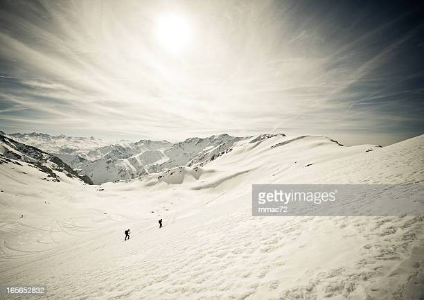 High mountain landscape with alpinists